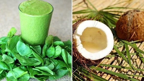 Spinach and coconut can aid in weight loss if eaten raw(Pixabay)