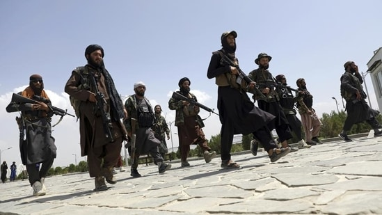 Taliban fighters patrol the streets of Kabul in Afghanistan.(AP Photo)
