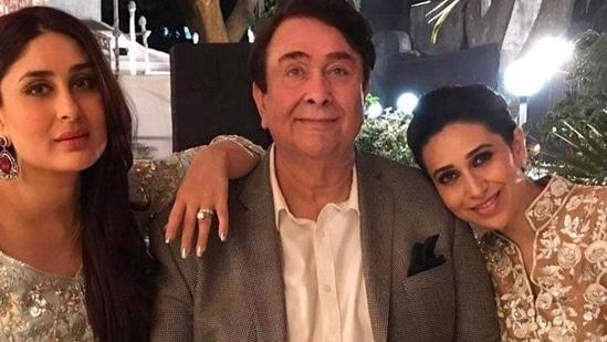 Randhir Kapoor with his daughters Kareena Kapoor and Karisma Kapoor.