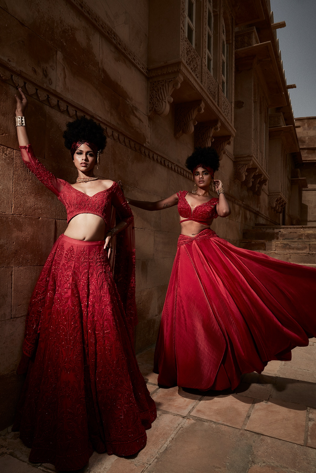 Models in ball gown inspired lehengas, peppered with crystal embroidery