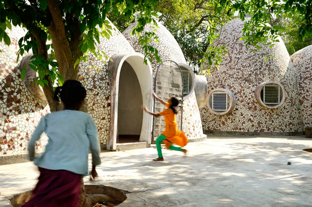 Among Anupama Kundoo's most acclaimed projects is a home for homeless children in Puducherry. The domed rooms are made up of clay bricks handmade locally, and fired from within. (Javier Callejas)