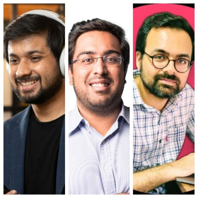 """FrontRow encourages community events and sets up challenges for users during and after a masterclass. """"A third of our user base is active on these community platforms, which are available for each course interaction,"""" says (left to right) Mikhil Raj, who founded FrontRow alongside Ishaan Preet Singh and Shubhadit Sharma."""