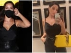 Nora Fatehi teams all-black top and leather pants with boots and bag worth more than <span class='webrupee'>₹</span>3 lakh(HT Photo/Varinder Chawla, Instagram/@norafatehi)