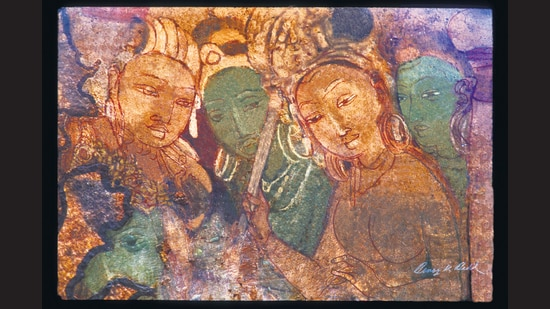 The digitally restored image of Queen and Attendants, from a 6th century painting from the Badami caves, is the third Indian deposit at the Arctic World Archive. (Benoy Behl)