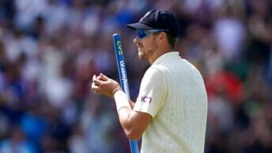 England's Ollie Robinson holds a stump as he walks off the field after their win on the fourth day of third test cricket match between England and India, at Headingley cricket ground in Leeds, England, Saturday, Aug. 28, 2021. (AP Photo/Jon Super)(AP)