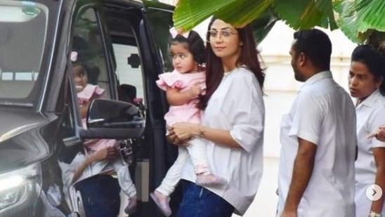 Shilpa Shetty with her daughter Samisha.(Varinder Chawla)