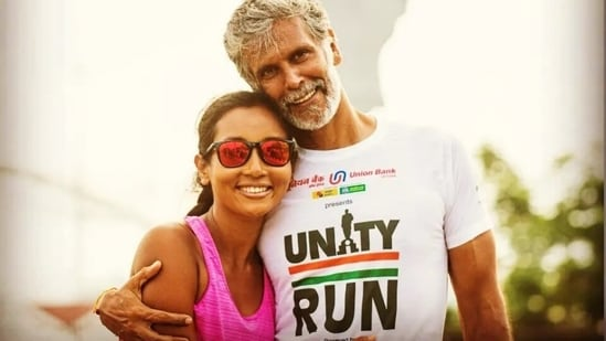 Milind Soman calls wife Ankita Konwar a good runner after Unity Run, don't miss her reply(Instagram/@milindrunning)