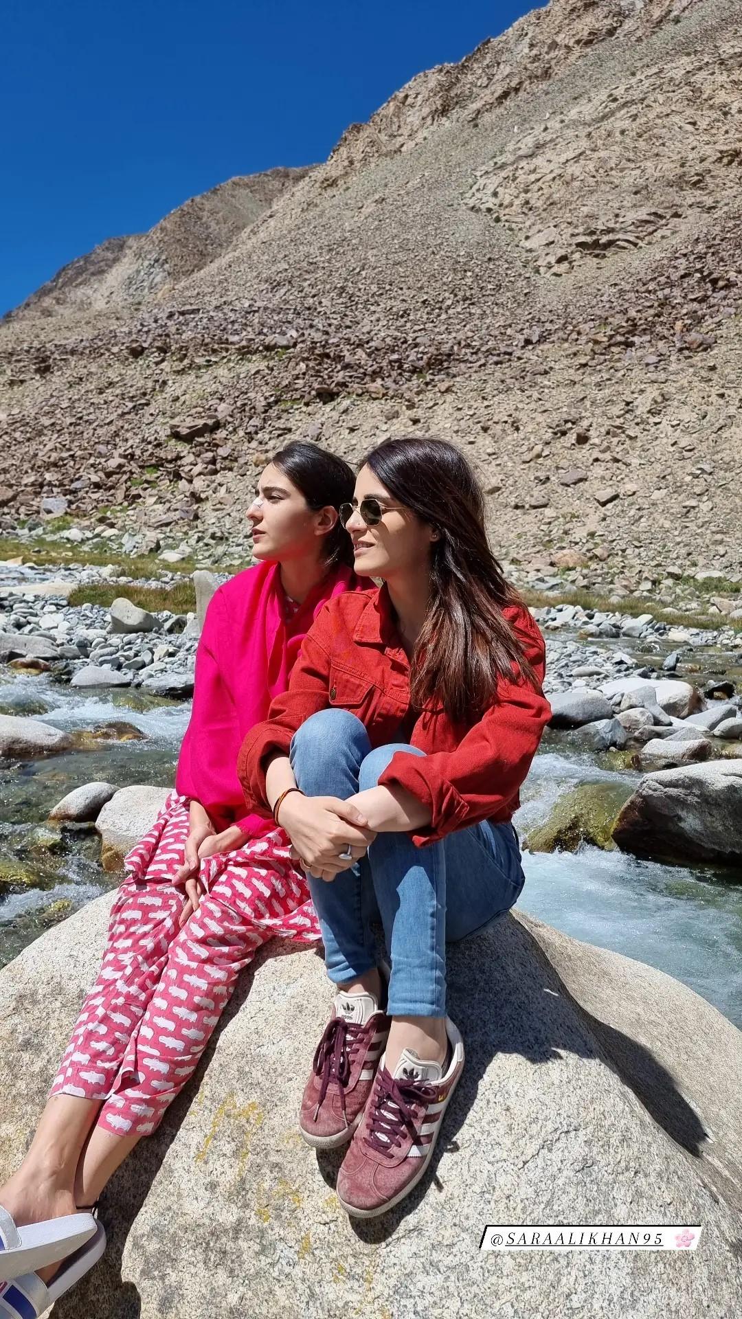 Sara Ali Khan and Radhika Madan in Ladakh(Instagram/radhikamadan)