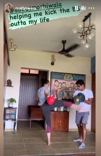 Swara Bhasker's kickboxing training (Instagram/reallyswara)