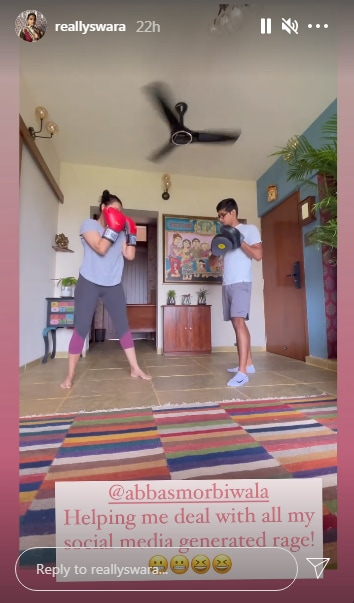 Swara Bhasker's kickboxing training(Instagram/reallyswara)
