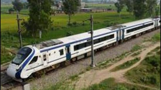 PM Modi flagged off the maiden run of a Vande Bharat train on the New Delhi-Varanasi route on February 15, 2019. The second such train service between New Delhi and Shri Mata Vaishnodevi Katra was flagged off by home minister Amit Shah on October 3 that year. (HT PHOTO.)
