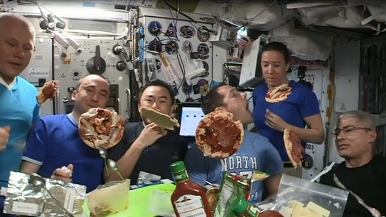 The image is taken from the 'floating pizza night' video.(Instagram/@thom_astro)
