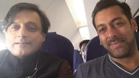 Salman Khan and Shashi Tharoor bumped into each other on a flight in 2015.