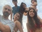 Arjun Rampal poses with his girlfriend Gabriella Demetriades and their son Arik as well as his daughters Myra and Mahikaa.