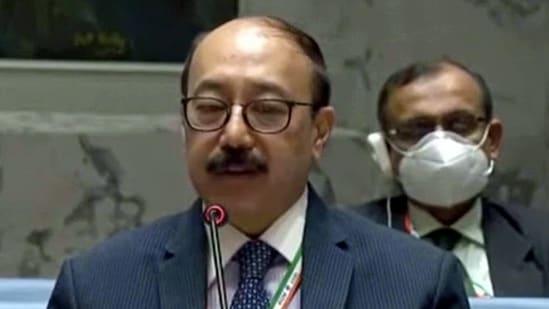 Foreign secretary Harsh Vardhan Shringla addresses a UNSC meeting.(File photo)