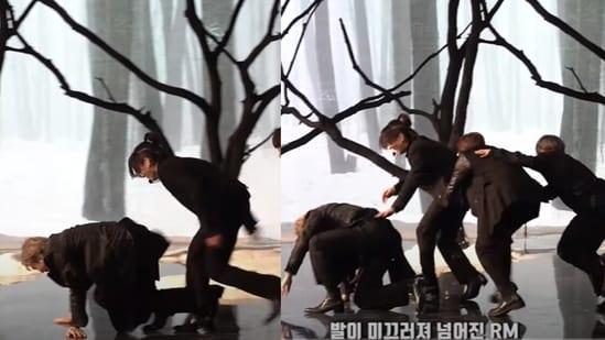 BTS leader RM slips during SBS Gayo Daejeon's Black Swan performance.
