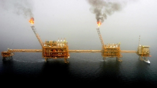 Gas flares from an oil production platform in the Persian Gulf. ( REUTERS)