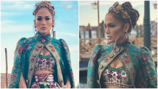 Jennifer Lopez in Dolce & Gabbana jewelled bra top, floral cape and gold crown is a queen(Instagram/@jlo)