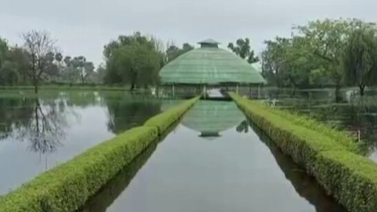 Buddha Relic Stupa, which enshrines the holy ashes of Lord Buddha, can also be seen surrounded by floodwater.(ANI)