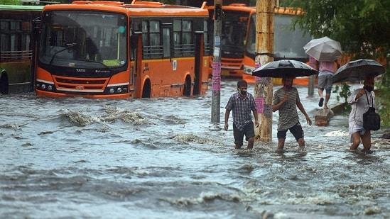India Meteorological Department data showed the city recorded 112mm of rain in the 24 hours till 8:30am. (Photo by Raj K Raj / Hindustan Times)(Hindustan Times)