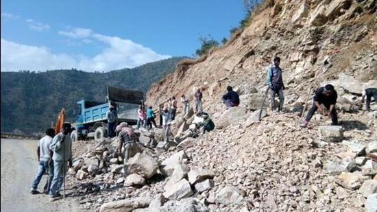 Widening of the Char Dham Road in progress. (HT archive)