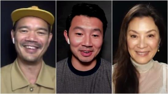 Shang-Chi actors Simu Liu (C) and Michelle Yeoh (R), and director Destin Daniel Cretton (L).