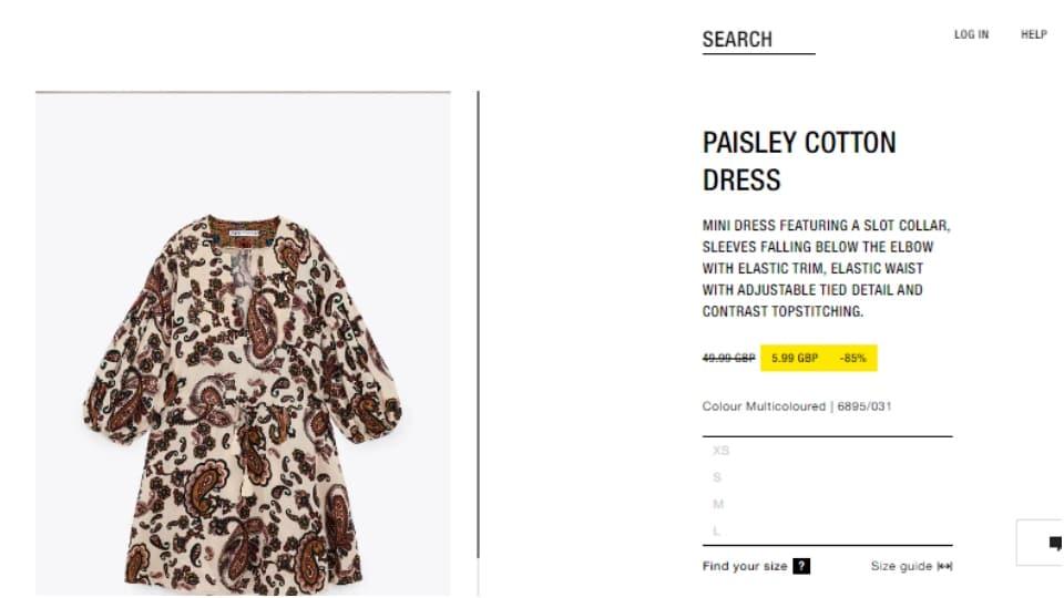 Kareena's paisley cotton dress. (zara.com)