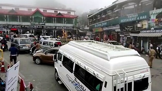 Last month, there was a huge rush of tourists in Mussorie after the Uttarakhand government relaxed Covid-19 curbs in the state.(ANI File Photo)