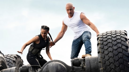 Fast & Furious 9 The Fast Saga movie review: Nathalie Emmanuel and Vin Diesel in a still from the new Fast & Furious film.(AP)