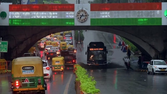 An early morning view of the Minto Bridge during rainfall, in Delhi.(ANI)