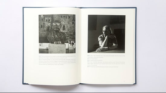 A spread from 'Portrait of a House: Conversations with BV Doshi' that shows on the left, a sculpture of BV Doshi's mother-in-law and on the right, Doshi at the dining table in Kamala House, Ahmedabad. (Dayanita Singh)