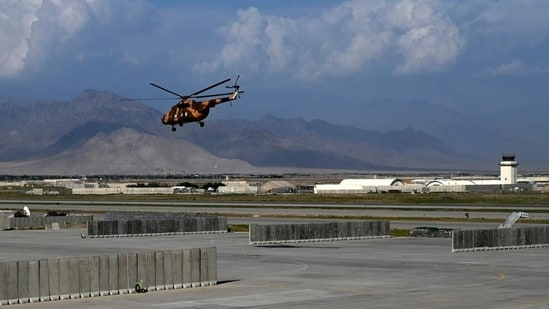 An Afghan national army helicopter takes off inside the Bagram airbase after all US and Nato troops left. (File Photo / AP)