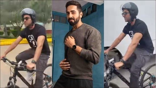 Ayushmann Khurrana cycles wearing a helmet for this reason, here's why you should too opt for this cardio exercise(Instagram/ayushmannk)