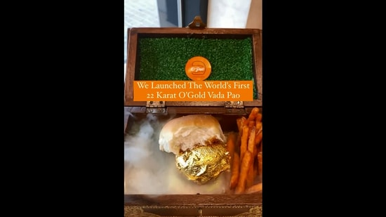 The image shows the edible gold coated vada pav.(Instagram/@opaodxb)