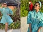 Sunny Leone sizzles resort wear fashion in blue lagoon dress at Maldives(Instagram/sunnyleone)