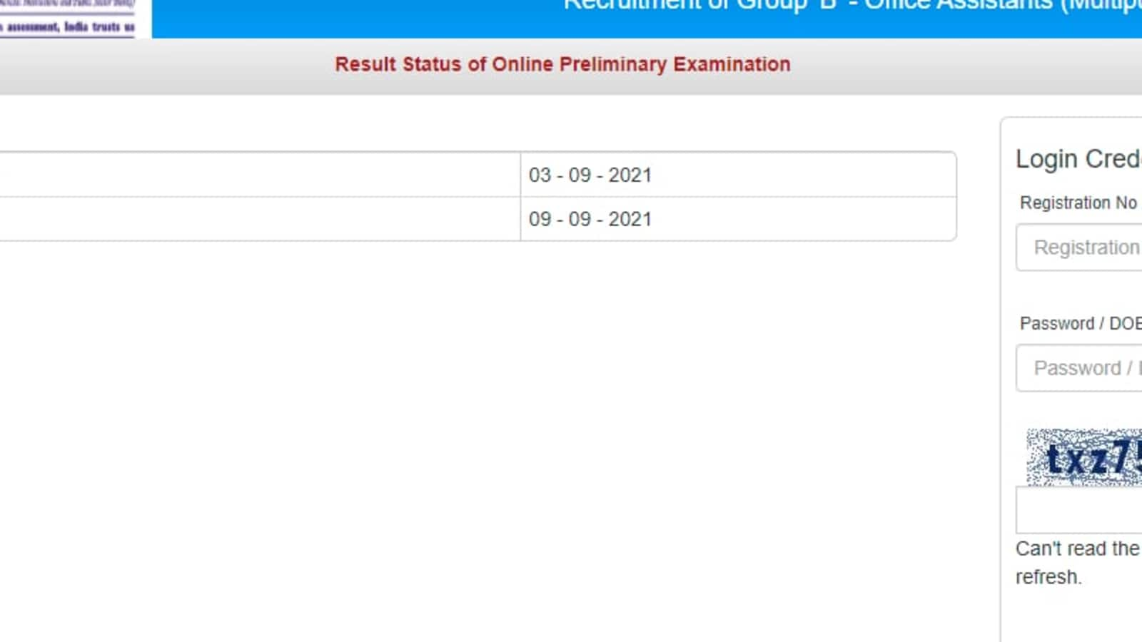 IBPS Office Assistant prelims results 2021 out, how to check clerk exam results