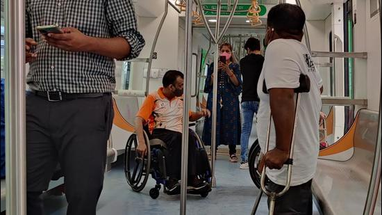 Maha-Metro organised a visit for specially-abled people at Sant Tukaram metro station Pimpri, on Thursday. (HT PHOTO)