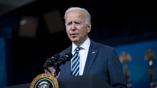 US president Joe Biden speaks in the Eisenhower executive office building in Washington DC on Thursday, Sept. 2, 2021. (Al Drago / Bloomberg)