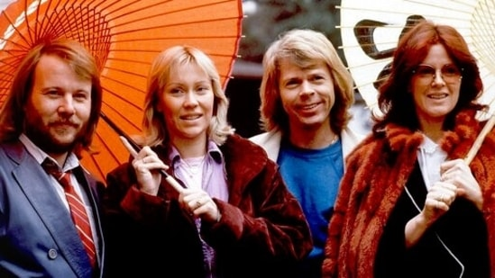 """Members of the pop group ABBA, from left, Benny Andersson, Agnetha Foltskog, Bjorn Ulvaeus and Anni-Frid Lyngstad. ABBA is releasing its first new music in four decades, along with a concert performance. The forthcoming album """"Voyage,"""" to be released Nov. 5, is a follow-up to 1981's """"The Visitors,"""" which until now had been the swan song of the Swedish super-group. (AP Photo/Tsugufumi Matsumoto, File)"""