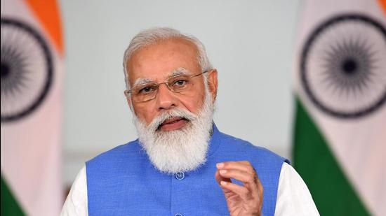 Prime Minister Narendra Modi addresses the plenary session of Eastern Economic Forum, through video conferencing, on Friday. (PTI)