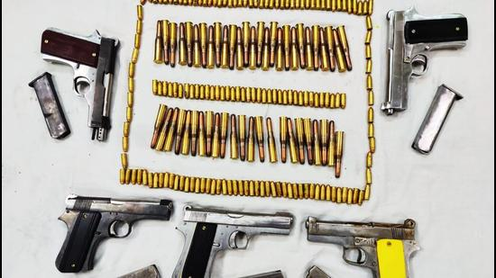 The haul of firearms recovered from the trafficker (Photo: Delhi Police)