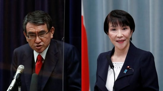 Japan's vaccination programme chief Taro Kono (L) and internal affairs minister Sanae Takaichi are two of the candidates many presume could line up for the post of prime minister. (File Photos / REUTERS)