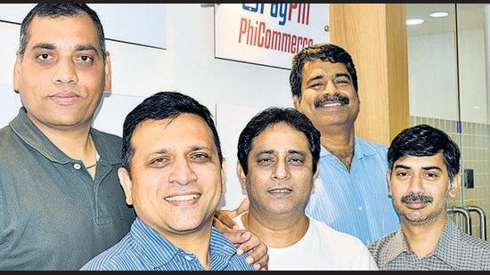 (From left) Co-founders of PhiCommerce Rajesh Londe, Jose Thattil, Tushar Shankar, Anil Sharma, and Rajkumar Subbaraj. (HT PHOTO)