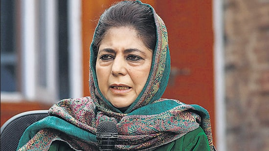 Peoples Democratic Party's (PDP) president and former chief minister Mehbooba Mufti's reaction came after a Kashmiri netizen, whose uncle had passed away on Thursday night, expressed how miserable and helpless one can feel in Kashmir with no phone connection and no idea where their rest of the family members were. (Waseem Andrabi/ HT Archive)