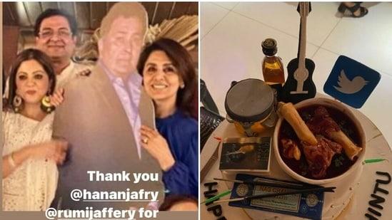 Neetu Kapoor with late Rishi Kapoor's cutout (right) his 69th birthday cake.