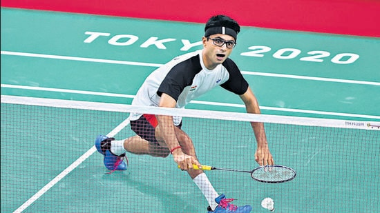 Suhas Yathiraj competed with world no 1 Lucas Mazur from France in the Badminton Men's Singles SL4 gold medal match in the Tokyo Paralympics on Sunday (Kiyoshi Ota/Getty Images)