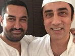 Aamir Khan poses with his brother, Faissal Khan.