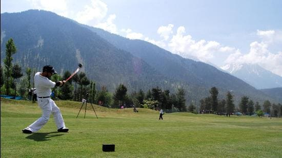 Golfers can increasingly be seen teeing off on the lush golf courses in Kashmir valley. (HT Photo)