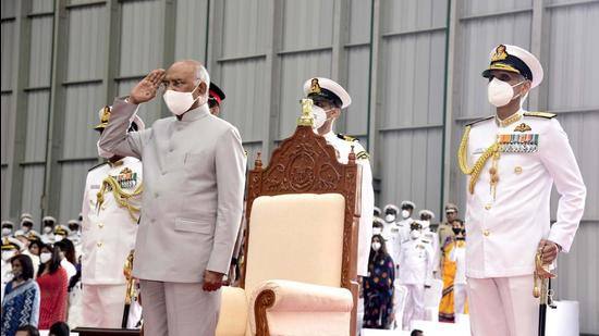 President Ram Nath Kovind salutes as he presents the President's Colour to Indian Naval Aviation at INS Hansa, on Monday. (ANI)