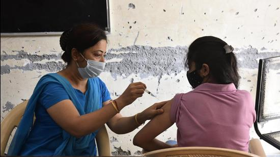 The coverage of Covid-19 vaccinations, pertaining to the first dose, has reached 119% in Gurugram. The district grappled with shopt supply of medical oxygen during the second wave earlier this year. (Vipin Kumar/HT PHOTO)